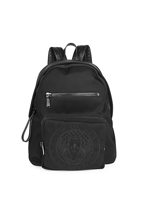 """Image of Leather trimmed embroidered logo backpack. Top handle. Adjustable padded back straps. Zip-around closure. Two front zip pockets. Silvertone hardware.12""""W x 15""""H x 5""""D.Nylon/leather. Imported."""