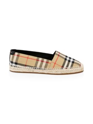 Leather & Cotton Espadrille Slip Ons by Burberry