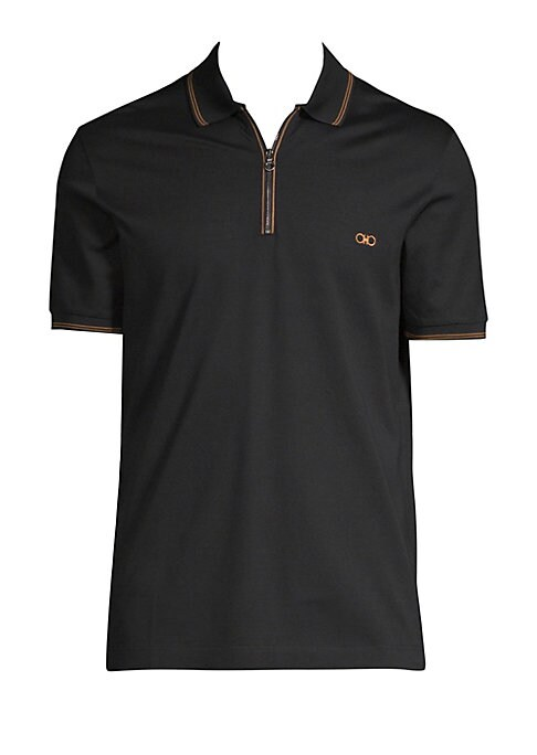 "Image of Timeless polo with a utilitarian zip closure. Polo collar. Short sleeves. Zip placket. Embroidered chest logo. Striped trim. About 27"" from shoulder to hem. Cotton. Dry clean. Made in Italy."