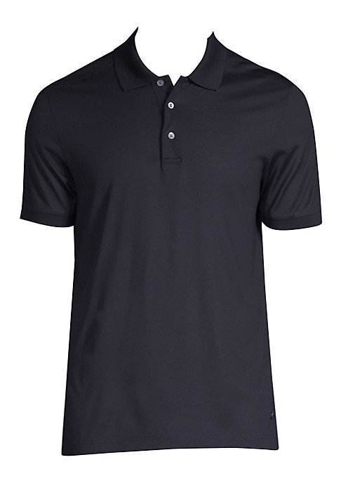 """Image of Classic polo crafted from luxe silk. Polo collar. Short sleeves. Three-button placket. About 27"""" from shoulder to hem. Silk. Dry clean. Made in Italy."""