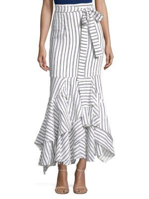 Striped Linen Skirt, Cream Blue