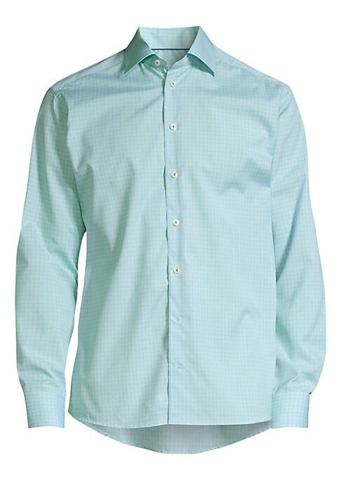 """Image of A crisp cotton dress shirt in a flattering contemporary fit. Point collar. Long sleeves. Button front. Button barrel cuffs. Cotton. Machine wash. Imported. SIZE & FIT. Contemporary fit. About 27"""" from shoulder to hem."""