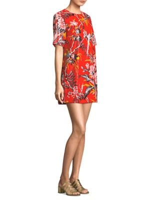 Sequined Floral-Print Short-Sleeve Shift Dress in Red