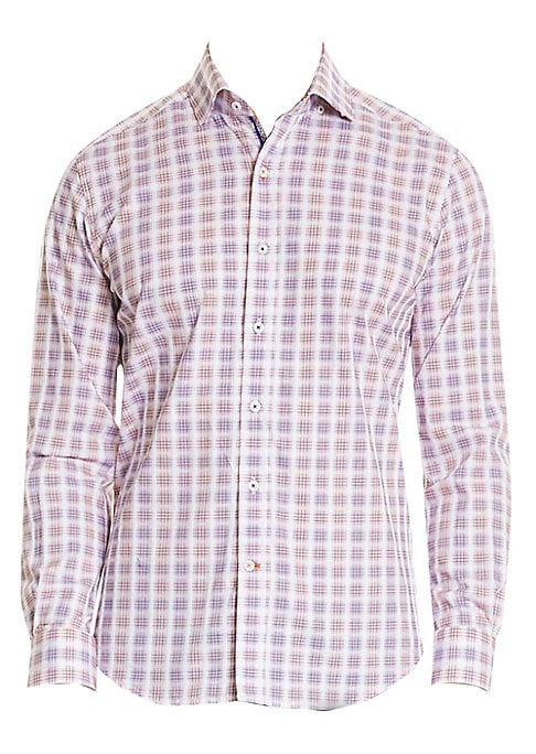 "Image of Essential button-down in stylish faded plaid. Spread collar. Long sleeves. Button cuffs. Button front. Shirttail hem. About 29"" from shoulder to hem. Cotton/spandex. Machine wash. Imported."