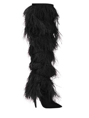 Yeti Feather-Trimmed Suede Over-The-Knee Boots in Black