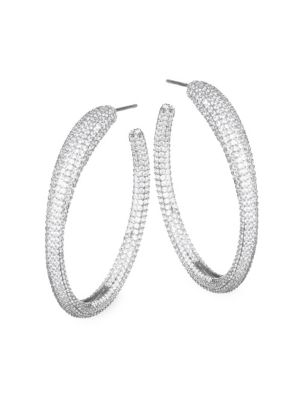 "Image of EXCLUSIVELY AT SAKS FIFTH AVENUE. From the Atrani Collection. Lavish hoop earrings with structural embellishments. Rhodium-plated cubic zirconia. Rhodium-plated brass. Length, about 1.5"".Width, about 0.25"".Post back. Imported."