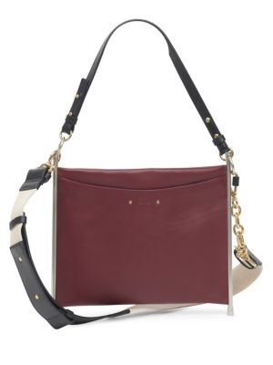 Roy Convertible Two-Tone Leather Shoulder Bag, Plum