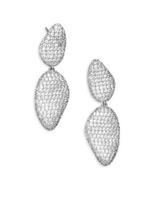 "Image of EXCLUSIVELY AT SAKS FIFTH AVENUE. From the Atrani Collection. Double drop shapely earrings. Black rhodium-plated brass. Rhodium-plated cubic zirconia. Drop, about 1.25"".Diameter, about 0.38"".Post back. Imported."
