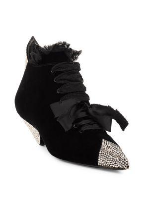 Blaze Crystal-Embellished Lace-Trimmed Velvet Ankle Boots, Black