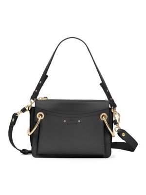 CHLOÉ Small Roy Gusset Grained Leather Bag, Black