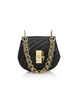 Drew Bijou Mini Quilted Leather Shoulder Bag, Black