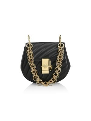 Drew Bijou Small Leather Crossbody Bag - Black