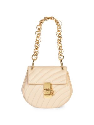 Small Drew Quilted Leather Saddle Bag, Pearl Beige