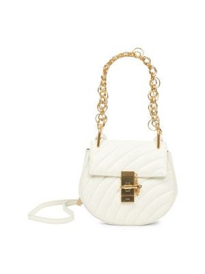 Drew Bijou Quilted Leather Shoulder Bag, White