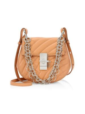 Drew Bijou Bag In Pink Quilted Leather, Blush