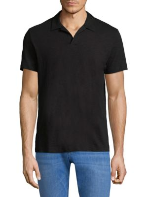 "Image of Cotton polo ideal for business casual occasion. Johnny collar. Short sleeves. About 28"" from shoulder to hem. Cotton. Machine wash. Imported."