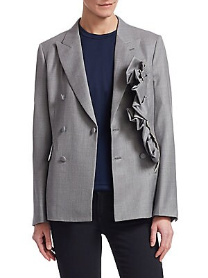 Image of A classic double breasted silhouette done up in luxurious wool. This tailored blazer is detailed with a cascading ruffle with a raw edge finish. Notched lapel Long sleeves Double breasted button-front Buttoned cuffs Waist flap pockets Wool Dry clean Made
