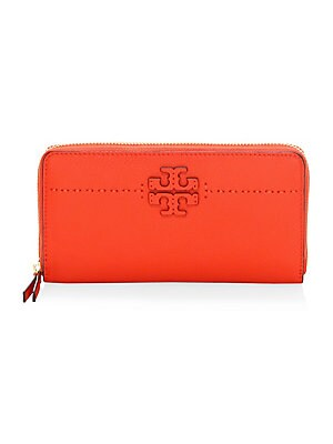 Mc Graw Zip Leather Continental Wallet by Tory Burch