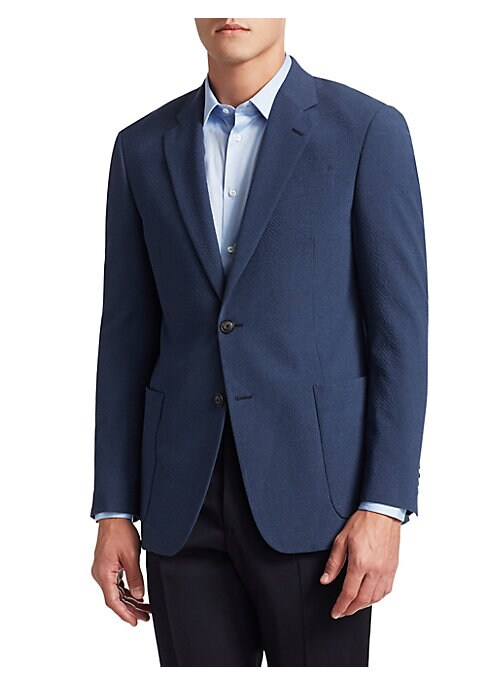 Image of From the Saks IT LIST. THE JACKET. The wear everywhere layer that instantly dresses you up. Patch pockets add a casual air to this sharp seersucker suit jacket. Notch lapels. Long sleeves. Buttoned cuffs. Two-button front. Chest besom pocket. Waist patch