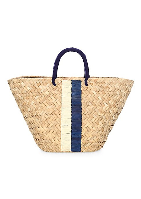 "Image of Stripe detail accents woven straw tote bag. Yarn-wrapped double top handles, 4.5"" drop. Drawstring closure. One interior open pocket. Cotton lining. Includes dustbag.17.5""W x 9.5""H x 5.5""D.Straw. Hand wash. Imported."