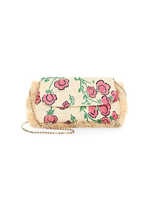 """Image of Embroidered rose bag with fringe trim. Chain strap, 19.5"""" drop. Magnetic closure. Goldtone hardware. One interior open pocket. Cotton lining. Includes dustbag.10.75"""" x 6.25"""" x 0.75"""".Straw. Hand wash. Imported."""