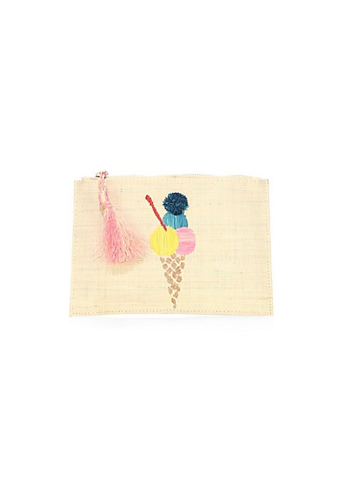 """Image of Stitched gelato detail adds colour to woven straw pouch. Top zip closure. One interior open pocket. Goldtone hardware. Raffia tassel. Cotton lining. Includes dustbag.9"""" x 6"""".Straw. Hand wash. Imported."""