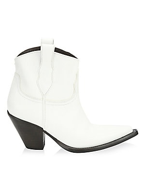 Image of From the Saks IT LIST THE COWBOY BOOT Pair this versatile must-have with flowing skirts, jeans and more. Short leather booties defined by western design details Block heel, 3 (76mm) Leather upper Pointed toe Double top pull tabs Cotton lining Leather sole