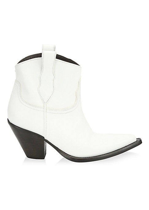"""Image of From the Saks IT LIST. THE COWBOY BOOT. Pair this versatile must-have with flowing skirts, jeans and more. Short leather booties defined by western design details. Block heel, 3"""" (76mm).Leather upper. Pointed toe. Double top pull tabs. Cotton lining. Leat"""