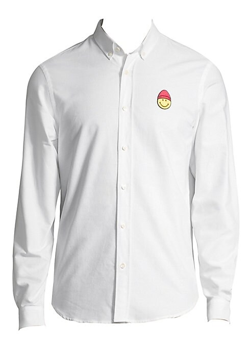 """Image of Embroidered smiley adds a touch of happy to classic shirt. Button-down shirt collar. Long sleeves. Button cuffs. Button front. Shirttail hem. About 29"""" from shoulder to hem. Cotton. Machine wash. Imported."""