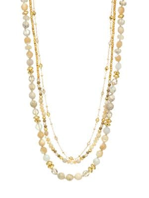 Mutli Brioche Agate Mix Pre-Layered Necklace, Yellow Gold