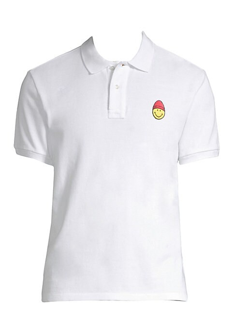 "Image of Casual cotton polo with embroidered smiley on chest. Polo collar. Short sleeves. Rib-knit at collar and armbands. Two-button placket. About 26"" from shoulder to hem. Cotton. Machine wash. Made in Portugal."