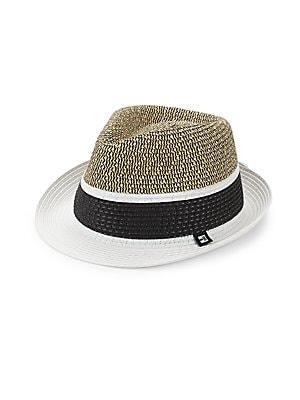 Image of Contrast stripe adorns woven color block fedora 13W x 13L x 7H Straw Imported. Men Accessories - Fashion Accessories > Saks Fifth Avenue. Block Headwear. Color: Black.