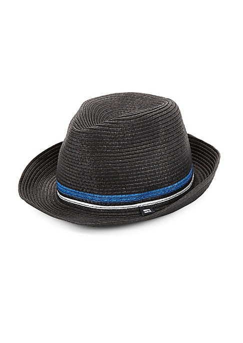 """Image of Braided straw hat with striped detailing .11""""L x 9""""W x 7""""H.Straw. Imported. ."""