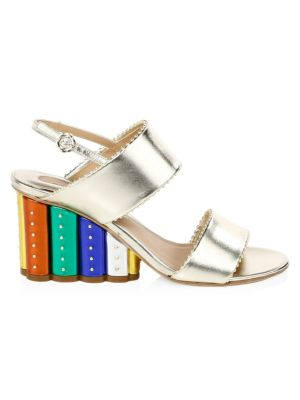 Women'S Gavi Leather Rainbow Floral Wedge Slingback Sandals, Multi