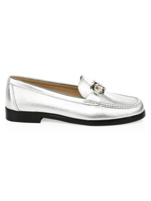 Rolo Metallic Leather Loafers, Silver from Al Duca d'Aosta