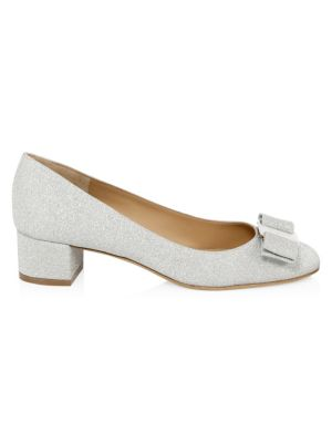 Women'S Vara Glitter Leather Block Heel Pumps, Silver