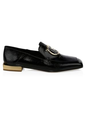 Lana Buckle Leather Loafers, Black