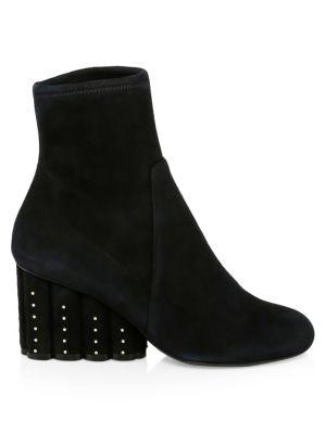 Suede Booties With Studded Heel in Black