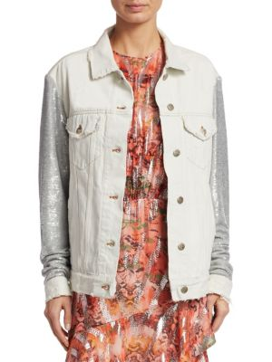 Nanopo Sequined Jersey And Denim Jacket, Silver White
