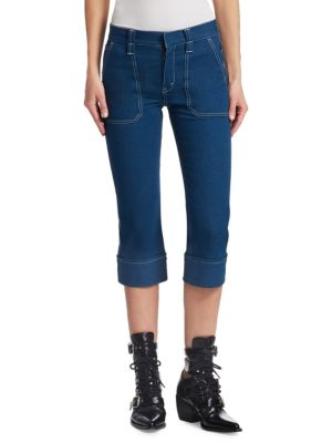 Straight-Leg Patch-Pocket Stretch-Denim Ankle Pants in Indigo