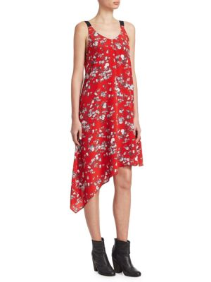Zoe V-Neck Sleeveless Floral-Print Silk Dress, Red Garden Flower