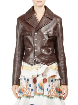 Classic Double-Breasted Leather Jacket, Off Brown
