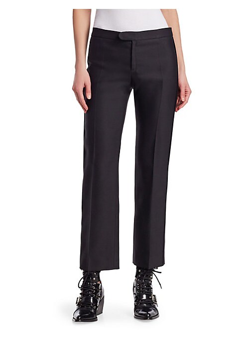 """Image of Cropped pant in luxe stretch wool. Zip fly with button tab closure. Back welt pockets. Rise, about 11.5"""".Inseam, about 28"""".Virgin wool/silk/nylon/elastane. Dry clean. Made in Italy. Model shown is 5'10"""" (177cm) wearing US size 4."""