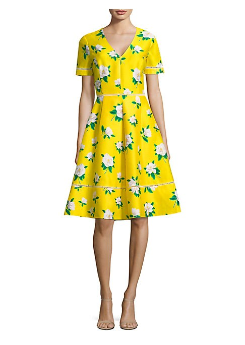 "Image of Silk fit-and-flare dress in lively floral print.V-neck. Short sleeves. Open back with button closure. Concealed back zip closure. About 24"" from shoulder to hem. Silk/cotton/rayon. Dry clean. Imported. .Model shown is 5'10"" (177cm) wearing US size 4. ."