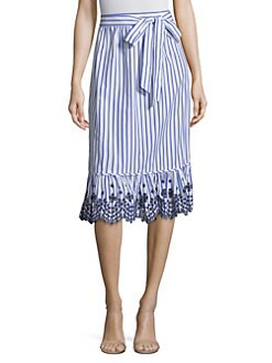 6931e5d6e4 Draper James. Stripe Eyelet Midi Skirt