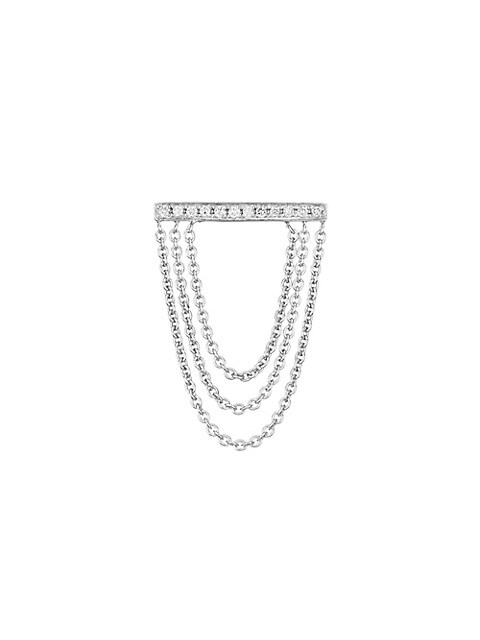 14K White Gold & Diamond Bar Chain Single Stud Earring