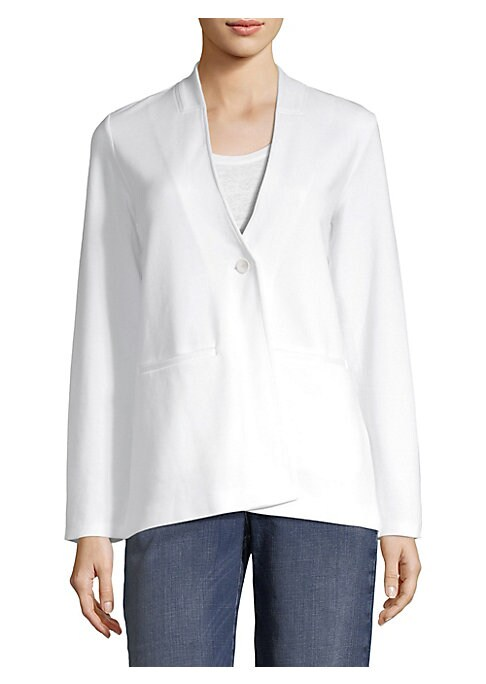 """Image of Button-front blazer in V-neck style.V-neck. Long sleeves. Front welt pockets. Button-front. About 29"""" from shoulder to hem. Tencel?/lyocell/nylon/spandex. Machine wash. Imported. Model shown is 5'10"""" (177cm) wearing US size 4. ."""