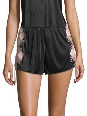 Harlow Lace-Trim Slinky Jersey Lounge Shorts, Black