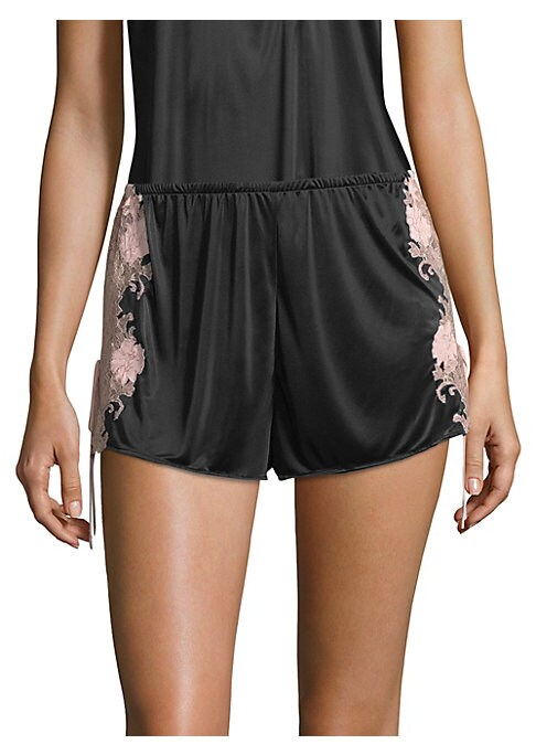 "Image of Lace trims soft jersey knit sleepwear shorts. Elasticized waist. Pull-on style. Decorative drawstring sides. Inseam, about 3.5"".Rayon/spandex. Machine wash. Imported."