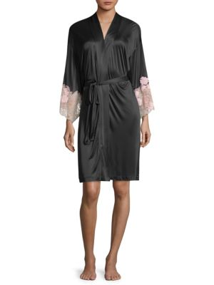 Harlow Lace-Trim Jersey Robe, Black